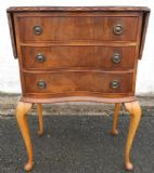 Queen Anne Style Walnut Shaped Front Small Chest of Drawers